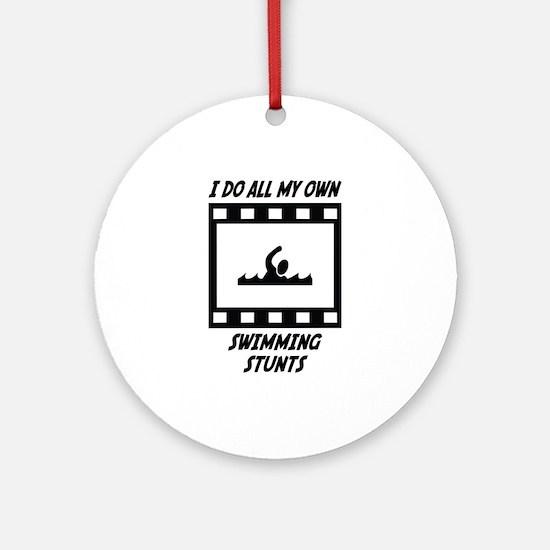 Swimming Stunts Ornament (Round)