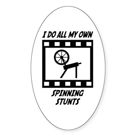Spinning Stunts Oval Sticker