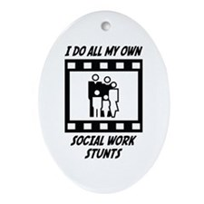 Social Work Stunts Oval Ornament