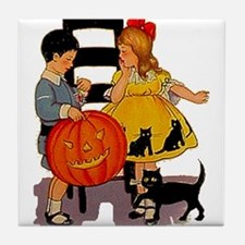 Halloween Party Kids Tile Coaster