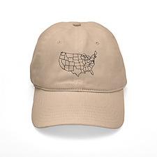 US Map Baseball Cap