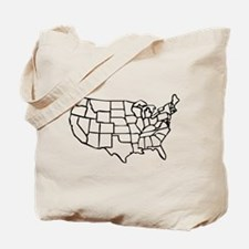 US Map Tote Bag