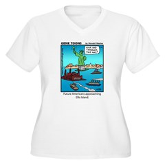 #14 Ellis Island Women's Plus Size V-Neck T-Shirt