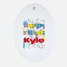 Happy Birthday Kyle Oval Ornament