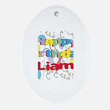 Happy Birthday Liam Oval Ornament