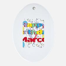 Happy Birthday Marco Oval Ornament