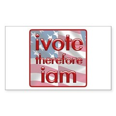 Think, Vote, Be with this Rectangle Sticker 50 pk