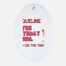 Happy Birthday Jacqueline Oval Ornament