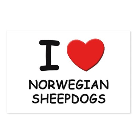 I love NORWEGIAN SHEEPDOGS Postcards (Package of 8