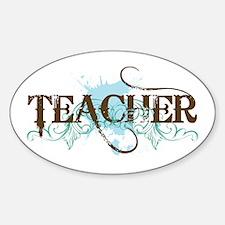 Cool Blue TEACHER Oval Decal