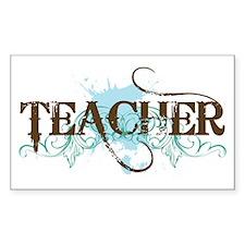 Cool Blue TEACHER Rectangle Decal