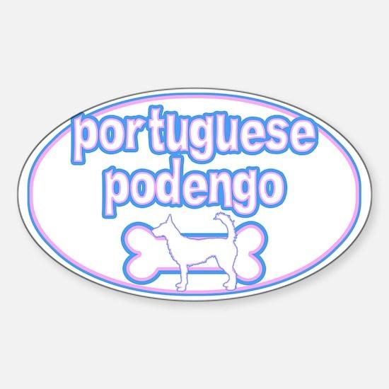 Cutesy Portuguese Podengo Oval Decal