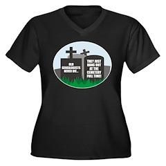 Never Die Women's Plus Size V-Neck Dark T-Shirt