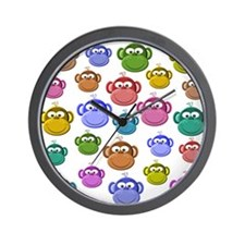 Colored Monkeys Wall Clock