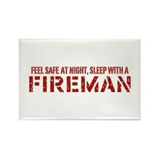 Feel Safe With A Fireman Rectangle Magnet