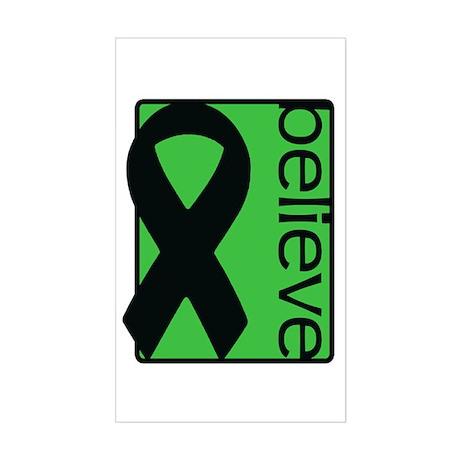 Green (Believe) Ribbon Rectangle Sticker
