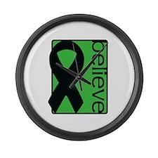 Green (Believe) Ribbon Large Wall Clock