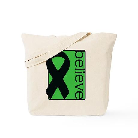 Green (Believe) Ribbon Tote Bag