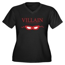 Villain Women's Plus Size V-Neck Dark T-Shirt