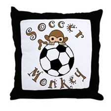Soccer Monkey Throw Pillow
