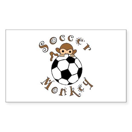 Soccer Monkey Rectangle Sticker
