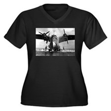 US NAVY FLYING BOAT Women's Plus Size V-Neck Dark