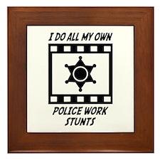Police Work Stunts Framed Tile