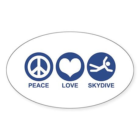 Peace Love Skydive Oval Sticker