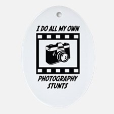 Photography Stunts Oval Ornament