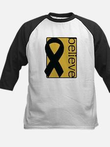 Gold (Believe) Ribbon Kids Baseball Jersey