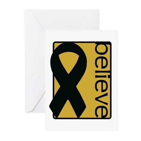 Gold (Believe) Ribbon Greeting Cards (Pk of 10)