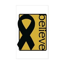 Gold (Believe) Ribbon Rectangle Decal