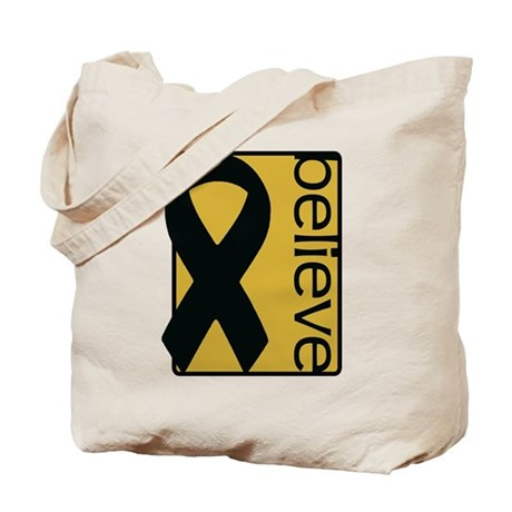 Gold (Believe) Ribbon Tote Bag