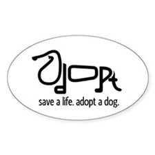 Adopt a Dog Oval Sticker (10 pk)