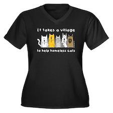 Feral Cats Women's Plus Size V-Neck Dark T-Shirt