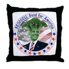 Broccoli Obama Throw Pillow