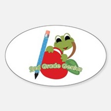 2nd Grade Genius Frog Oval Decal