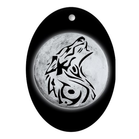 Wolf Moon Oval Ornament