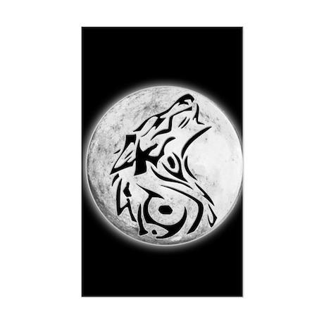 Wolf Moon Rectangle Sticker