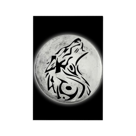 Wolf Moon Rectangle Magnet
