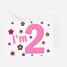 """I'm 2"" Pink & Brown Flowers Greeting Card"
