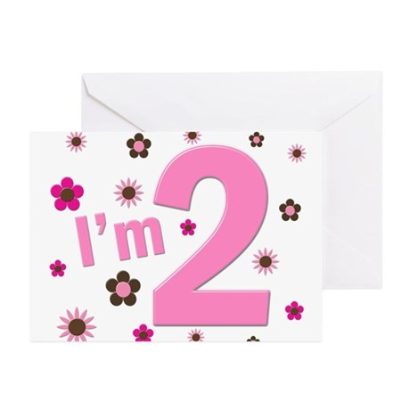 """""""I'm 2"""" Pink & Brown Flowers Greeting Cards (Pk of"""