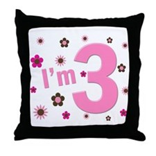 """I'm 3"" Pink & Brown Flowers Throw Pillow"