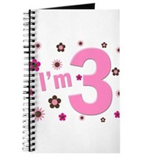 """""""I'm 3"""" Pink & Brown Flowers Journal"""