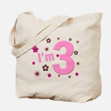 """I'm 3"" Pink & Brown Flowers Tote Bag"
