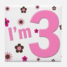 """I'm 3"" Pink & Brown Flowers Tile Coaster"