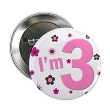"""""""I'm 3"""" Pink & Brown Flowers 2.25"""" Button"""