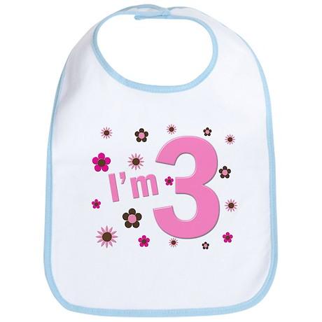 """I'm 3"" Pink & Brown Flowers Bib"