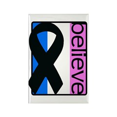Blue White Pink (Believe) Ribbon Rectangle Magnet