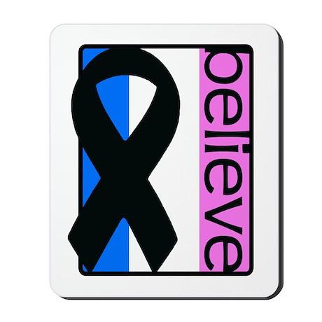 Blue White Pink (Believe) Ribbon Mousepad